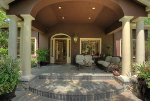 Traditional Porch with Paint 2, can lights, exterior stone floors, French doors, Transom window, picture window, Brick patio