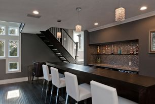 Contemporary Bar with Crown molding, Standard height, can lights, Laminate floors, Pendant light, Built-in bookshelf