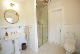Traditional 3/4 Bathroom with Jamie young company ball chain mirror, Casement, six panel door, Shower, specialty tile floors