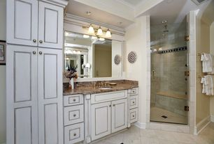 Traditional Full Bathroom with can lights, Simple granite counters, stone tile floors, frameless showerdoor, Shower