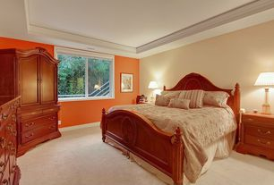Contemporary Guest Bedroom with Crown molding, High ceiling, specialty window, Carpet