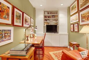 Traditional Home Office with Laminate floors, Built-in bookshelf