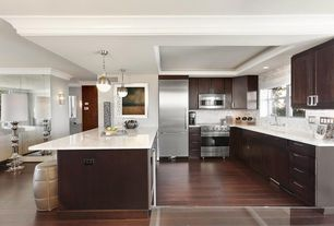 Contemporary Kitchen with Flush, Pendant light, Laminate floors, Complex Marble, Complex marble counters, Kitchen island
