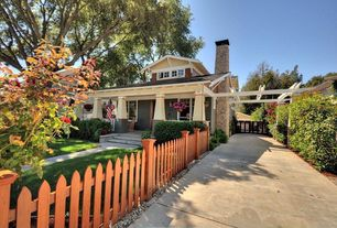Craftsman Front of Home with Deck Railing, Gate, Pathway, exterior stone floors, Casement, picture window