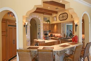 Mediterranean Kitchen with Double sink, Undermount sink, Flush, limestone tile floors, Kitchen island, Terracotta Tile