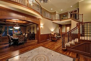 Craftsman Staircase with Wainscotting, Crown molding, complex marble floors, High ceiling, French doors, Hardwood floors