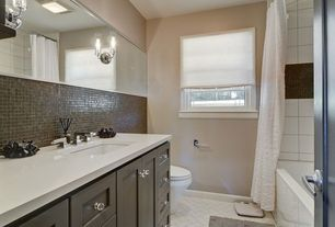 Contemporary Full Bathroom with Daltile - semi-gloss white 4-1/4 in. x 4-1/4 in. ceramic wall tile, shower bath combo, Paint