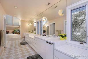 Modern Master Bathroom with specialty door, European Cabinets, Concrete tile , Powder room, Skylight