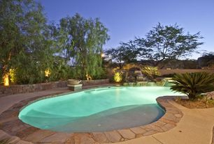 Rustic Swimming Pool with Fence, exterior stone floors