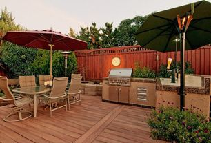 Modern Deck with Outdoor kitchen, Raised beds, Fence
