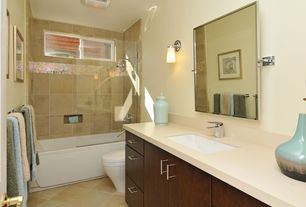 Contemporary Full Bathroom with Slate, Kohler Devonshire Single Wall Sconce, Kitchen Craft, Lockhart Cabinet Door Style