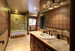 Rustic Full Bathroom with Raised panel, Limestone counters, Limestone, tiled wall showerbath