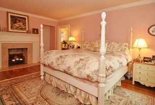 Country Guest Bedroom with Cement fireplace, Crown molding, brick fireplace, Fireplace, six panel door, Standard height