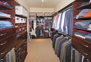 Modern Closet with Built-in bookshelf, Standard height, Carpet, can lights
