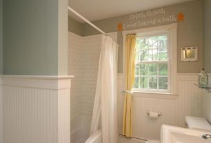 Cottage Full Bathroom with tiled wall showerbath, 8 sq ft. MDF Overlapping Wainscot Interior Paneling Kit, Undermount sink
