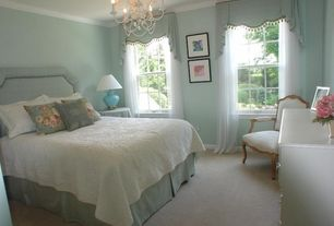 Traditional Guest Bedroom with Carpet, Standard height, Casement, Chandelier