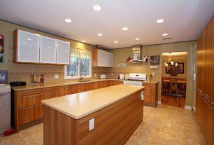Contemporary Kitchen with U-shaped, stone tile floors, Quartz counters, gas range, Kitchen island, full backsplash, Casement