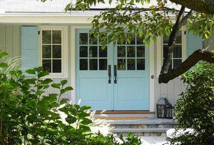Cottage Front Door with Glass panel door, exterior stone floors, 12 in. x 39 in. Raised Panel Vinyl Exterior Shutters Pair