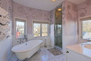 Eclectic Master Bathroom with complex granite floors, interior wallpaper, Wainscotting, frameless showerdoor, Undermount sink