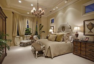 Traditional Guest Bedroom with Carpet, Chandelier, Lite Source Damaris 6 Light Chandelier, Crown molding, High ceiling