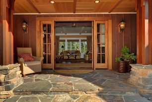 Craftsman Porch with Wood ceiling, Build direct roterra slate tile multi color/mini pattern, French doors, Screened porch