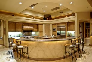 Traditional Kitchen with Breakfast bar, Kitchen island, full backsplash, can lights, L-shaped, Skylight, Stone Tile, Paint 1