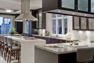 "Traditional Kitchen with Stone Tile, Simple marble counters, Flush, 30"" ISLAND RANGE HOOD, 6 SPEED - PLFI 520.30, L-shaped"