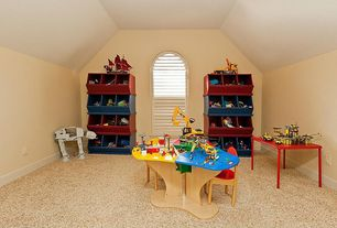 Eclectic Playroom with simple marble floors, specialty door, Arched window