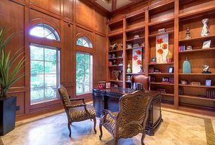 Traditional Home Office with Built-in bookshelf, High ceiling, complex marble floors, Arched window, Box ceiling