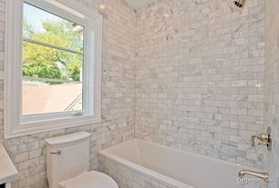 Traditional Full Bathroom with Simple marble counters, tiled wall showerbath, MS International Grecian White Marble Tile