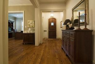 "Traditional Entryway with Paint 2, flush light, BELLAWOOD Hues  3/4"" x 3-1/4"" Butterscotch Oak Rustic, six panel door"