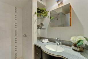 Modern Full Bathroom with Flush, European Cabinets, Undermount sink, Simple granite counters, frameless showerdoor