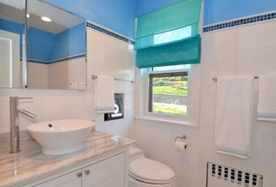 Modern Powder Room with Complex granite counters, picture window, three quarter bath, Standard height, can lights