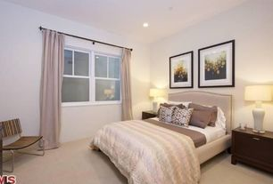 Modern Guest Bedroom with can lights, Carpet, double-hung window, Standard height
