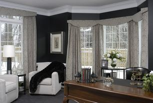 Traditional Home Office with Transom window, Summit Furnishings GeoHex Club Chair, Wainscotting, Crown molding, Carpet