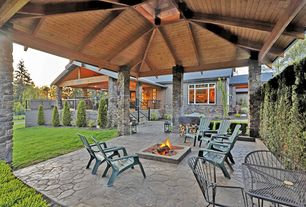 Craftsman Patio with Fire pit, Covered patio, exterior stone floors, Casement, Exterior stone wall