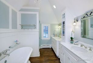 "Traditional 3/4 Bathroom with Undermount sink, Ms international carrara white marble, OIA  23"" Bathroom Shelf, Freestanding"