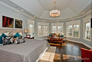Modern Master Bedroom with Crown molding, High ceiling, French doors, double-hung window, Chandelier, Hardwood floors