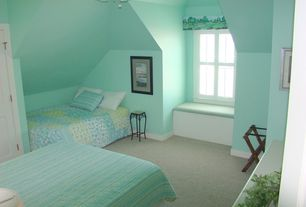 Modern Guest Bedroom with Carpet, Cardiff mini quilt set, Ceiling fan, Window seat, Nautica belle isle cotton quilt