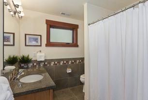 Craftsman Full Bathroom with full backsplash, Simple Granite, Undermount sink, Standard height, Full Bath, Shower, Casement