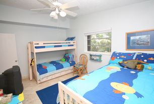 Tropical Kids Bedroom with Carpet, Chandelier, Ceiling fan, Arizona Tile - Durango Travertine