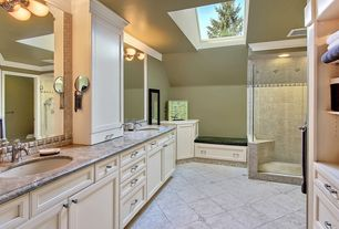 Traditional Master Bathroom with Double sink, Tiled shower, Wall sconce, Cathedral ceiling, Skylight, Frameless, Window seat