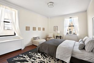Contemporary Guest Bedroom with Standard height, Window seat, flush light, Hardwood floors, Crown molding, Wainscotting