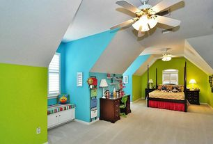 Eclectic Kids Bedroom with no bedroom feature, Standard height, Carpet, Ceiling fan, Window seat, picture window