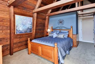 Rustic Guest Bedroom with High ceiling, Exposed beam, Carpet