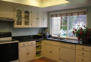 Traditional Kitchen with Simple Granite, Raised panel, L-shaped, Simple granite counters, Inset cabinets