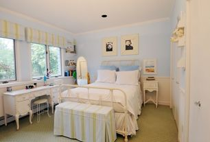 Country Kids Bedroom with Carpet, Wainscotting, Crown molding