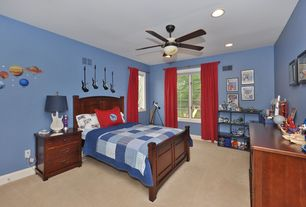 Eclectic Kids Bedroom with Ceiling fan, Carpet, can lights, Standard height, flush light, Casement