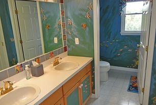 Full Bathroom with interior wallpaper, wall-mounted above mirror bathroom light, six panel door, Drop-in sink, Casement