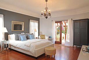 Contemporary Guest Bedroom with Hardwood floors, Oriental Furniture Rush Grass Storage Ottoman, Ikea Edland Wardrobe